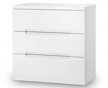 Manhattan High Gloss White 3 Drawer Chest - Assembled