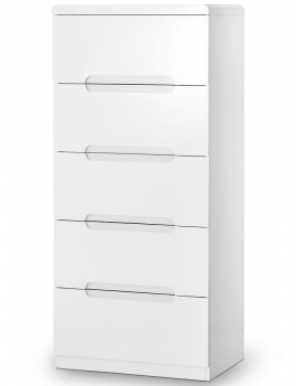 Manhattan High Gloss White 5 Drawer Narrow Chest