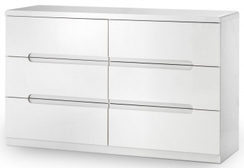 Manhattan High Gloss White 6 Drawer Wide Chest