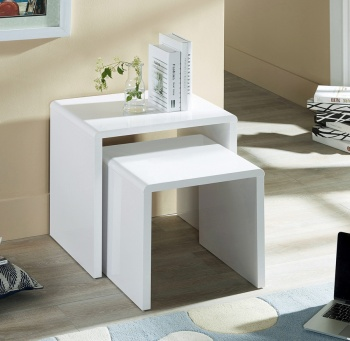Manhattan High Gloss White Nest of Tables