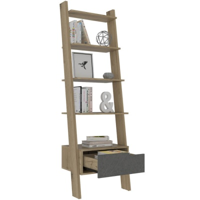Manhattan Ladder Bookcase - Pine & Stone Effect