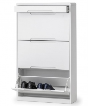 Manhattan High Gloss White Shoe Cabinet with Drawer - Assembled