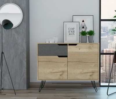 Manhattan Small Sideboard - Pine & Stone Effect