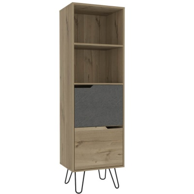 Manhattan Tall Bookcase with 2 Doors - Pine & Stone Effect