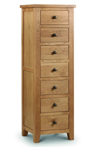 Marlborough Oak 7 Drawer Narrow Chest