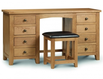 Marlborough Oak Double Pedestal Dressing Table & Stool
