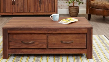 Mayan Walnut Four Drawer Coffee Table