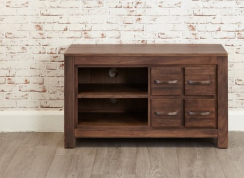 Mayan Walnut Four Drawer Television Cabinet
