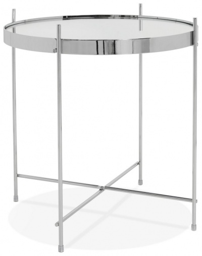 Metallic Chrome Side Table with Mirrored Top