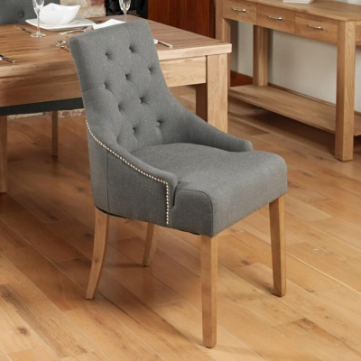Mobel Oak Accent Upholstered Dining Chairs - Pair