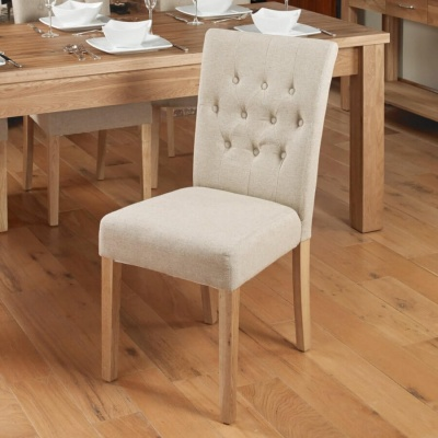 Mobel Oak Flare Back Upholstered Dining Chairs - Biscuit