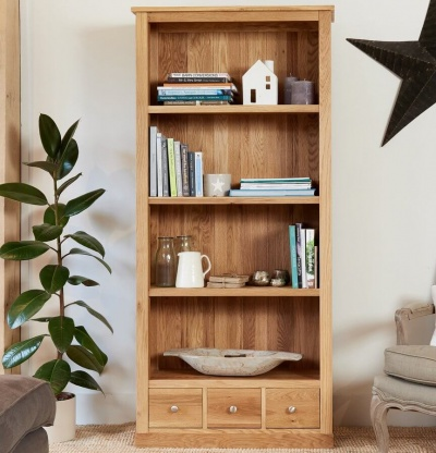 Large 3 Drawer Bookcase Mobel Oak