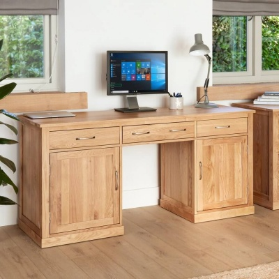 Large Hidden Office Twin Pedestal Desk Mobel Oak