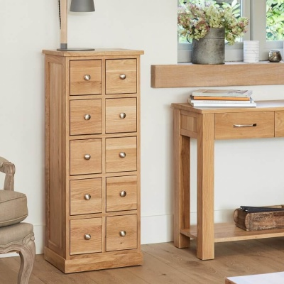 Multi-Drawer DVD Storage Chest Mobel Oak