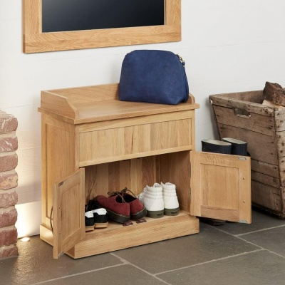 Shoe Bench with Hidden Storage Mobel Oak