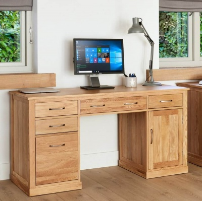 Twin Pedestal Computer Desk Mobel Oak