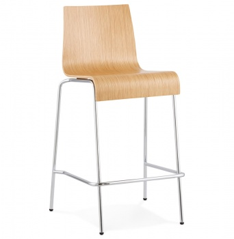 Modern Bar Stool with Wooden Bentwood Seat