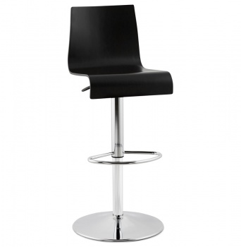 Modern Bentwood Swivel Bar Stool with Chrome Base