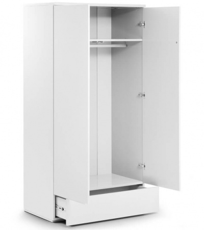 Monaco 2 Door 1 Drawer Wardrobe - High Gloss White