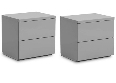 Set of 2 Monaco 2 Drawer Bedside Tables- High Gloss Grey