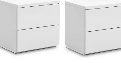Set of 2 Monaco 2 Drawer Bedside Tables- High Gloss White