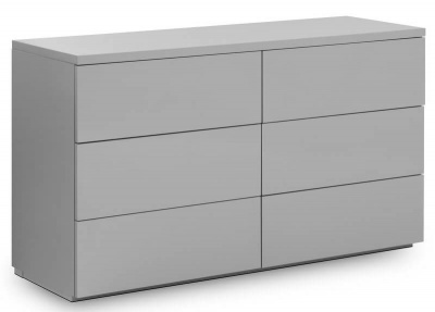Monaco 6 Drawer Wide Chest - High Gloss Grey