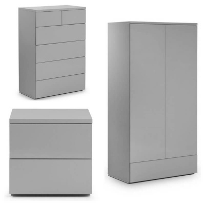 Monaco High Gloss Grey - Trio Bedroom Set