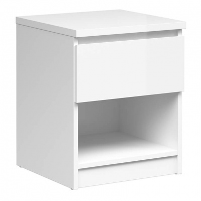 Naia Bedside - 1 Drawer 1 Shelf in White