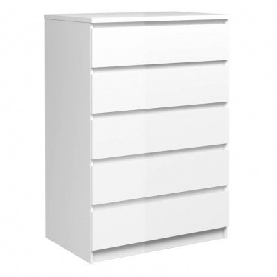 Naia Chest of 5 Drawers in White