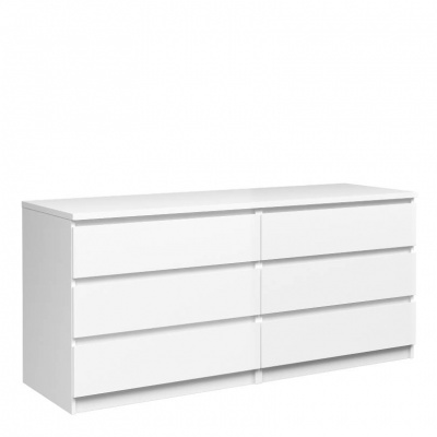 Naia Wide Chest of 6 Drawers (3+3) in White