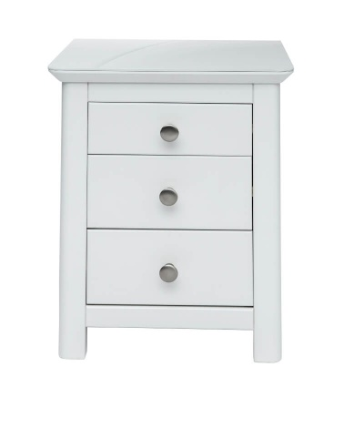 Nairn 3 Drawer White Bedside Cabinet with Glass Bonded Top
