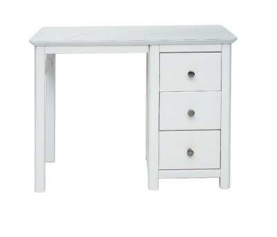 Nairn White Single Pedestal Dressing Table with Bonded Glass Top