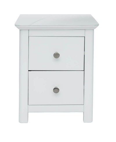 Nairn 2 Drawer White Bedside Cabinet with Glass Bonded Top