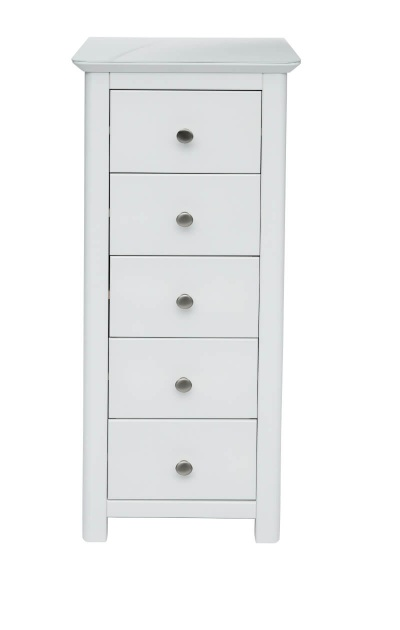 Nairn White 5 Drawer Narrow Chest with Bonded Glass Top