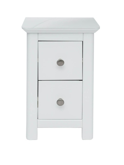 Nairn 2 Drawer Petite White Bedside Cabinet with Glass Bonded Top