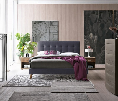 Novara Bed - Dark Grey Fabric - King-Size