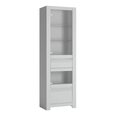 Novi Tall Narrow Display Cabinet in Alpine White