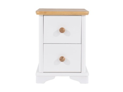 Abella Oak & White 2 Drawer Compact Bedside Cabinet