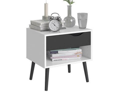 Oslo 1 Drawer Bedside in White and Matt Black