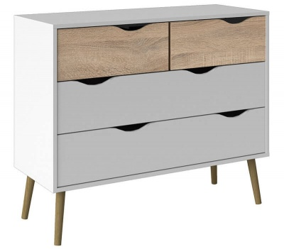 Oslo Chest of 4 Drawers (2 + 2) in White and Oak