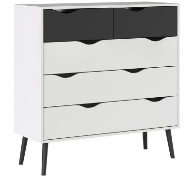 Oslo Chest of 5 Drawers (2 + 3) in White and Black