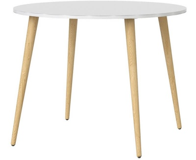 Oslo Round Dining Table - 100 cm in White and Oak Finish
