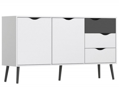 Oslo Sideboard - Large - 3 Drawers 2 Doors in White and Black