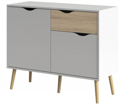 Oslo Sideboard - Small - 1 Drawer 2 Doors in White and Oak Finish