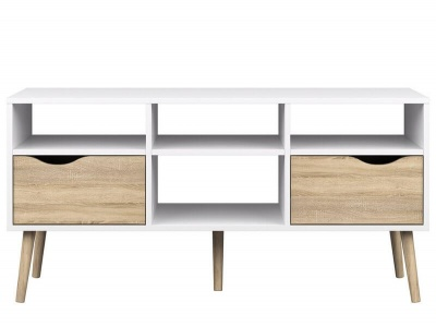 Oslo Wide TV Unit - 2 Drawer with Shelves in White and Oak Finish