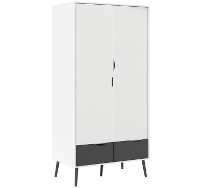Oslo Wardrobe 2 Doors 2 Drawers in White and Black Finish