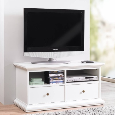 Paris TV Unit - 2 Shelves 2 Drawers in White