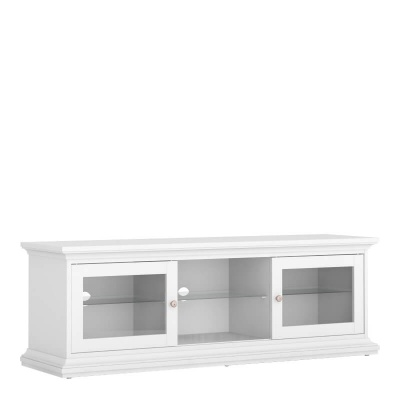 Paris TV Unit - Wide - 2 Doors 1 Shelf in White