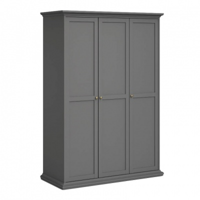 Paris Wardrobe with 3 Doors in Matt Grey with Hanging Rail and Shelving
