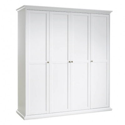 Paris Wardrobe with 4 Doors Hanging Rail & Shelving in White